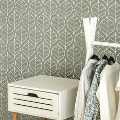 Large Wall Stencil, Stencil Painting On Walls, Classic Wall Paint, Wall Behind Bed, Herringbone Wall, Wall Stencil Patterns, Stenciled Floor, Floral Wall, Diy Wall Decor