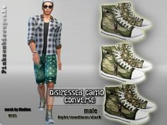 The Sims Resource: Distressed Camo Converse by Pinkzombiecupcake • Sims 4 Downloads