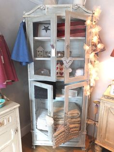 Grey Scroll Top Dresser with Wire Doors