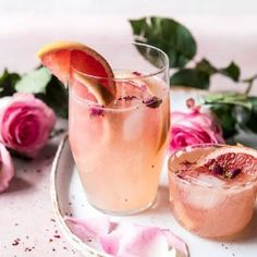 Rose and Ginger Paloma. - - A simple mix of fresh grapefruit juice, lime juice, and tequila.so refreshing! Refreshing Cocktails, Summer Cocktails, Cocktail Drinks, Fun Drinks, Sangria Recipes, Cocktail Recipes, Drink Recipes, Paloma Recipe, Tequila Drinks