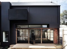 Brick contrast with colour steel - good idea for entrance way
