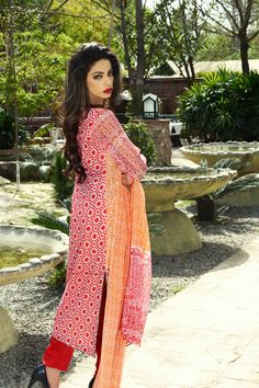 Show details for Tangerine Orange Lawn Kameez with Trousers