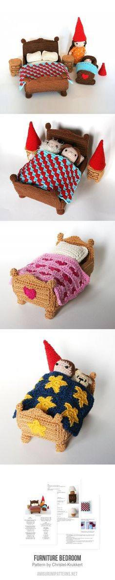 Furniture Bedroom amigurumi pattern. Crochet Miniature Gnomes with pillow, blanket bad and more