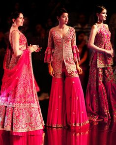 Latest Pink & Red Bridal Dresses To Love With Prices! Sabyasachi Wedding Lehenga, Lehenga Gown, Red Lehenga, Bridal Lehenga, Indian Lehenga, Anarkali, Red Evening Gowns, Red Gowns, Sharara Designs