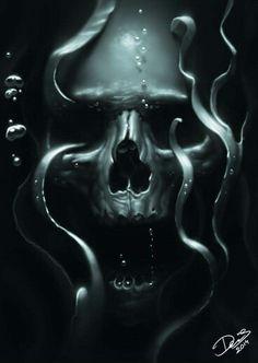 Underwater Art Tattoo Danse Macabre Skulls Screaming Skull Bare