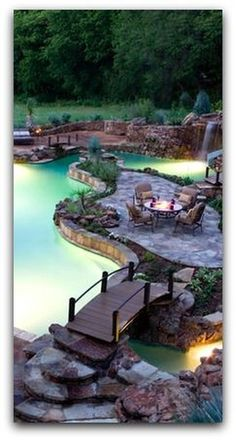 A bridge to a patio island in the middle of the pool. Love this idea A bridge to a patio island in the middle of the pool. Love this idea Outdoor Pool, Outdoor Spaces, Outdoor Living, Outdoor Retreat, Dream Pools, Exterior, Cool Pools, Awesome Pools, Pool Landscaping