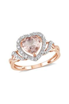 10K Rose Gold Morganite Pave Diamond Ring by Delmar on @HauteLook