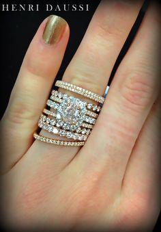 Henri Daussi rose gold and fancy pink diamond ring set. I Love Jewelry, Fine Jewelry, Jewelry Design, Schmuck Design, Diamond Are A Girls Best Friend, Beautiful Rings, Diamond Jewelry, Diamond Bands, Bracelets