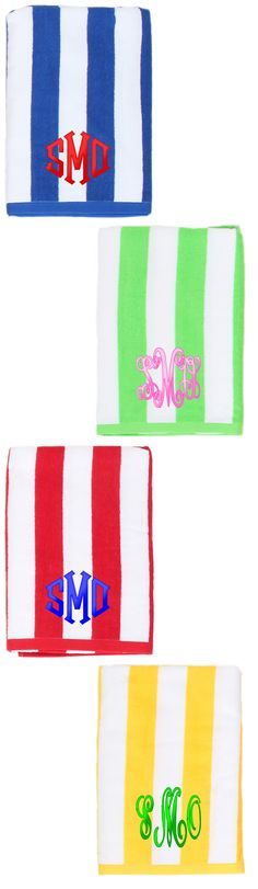 We are ready for the #beach and #pool this Summer! Never lose your towel again with a Monogrammed Cabana Stripe Beach Towel $29.99 from Marleylilly.com