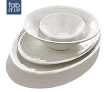 Designer dishware is a great way to dress up old game day favorites.