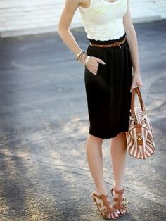 white lace top, black pencil skirt, thin brown belt, + brown & white bag