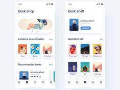 Book App by JON Web Design, App Ui Design, Interface Design, Flat Design, Ui Design Mobile, Android Ui, App Design Inspiration, Mobile App Ui, Ui Web