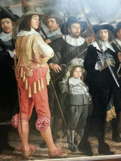 Detail of: Militia Company of District VIII under the command of Captain Roelof Bicker - Bartolomeus van der Helst, oil on canvas 1643. This civic guard painting is a substantial 7.5m wide. Van der Helst did not line up the 30 men in a static row, but positioned the ones with the lightest coloured clothing in the front at regular intervals. Rijksmuseum Amsterdam.