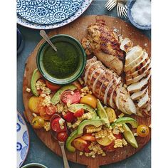beautifulcuisines: Grilled Chicken with Avacado Corn and Tomato salad...yes please!  Courtesy of @whatsgabycookin! #beautifulcuisines