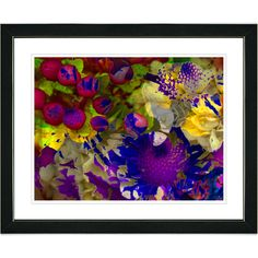 Zhee Singer 'Purple Flowers and Berries' Framed Art Print | Overstock.com Shopping - The Best Prices on Framed Art