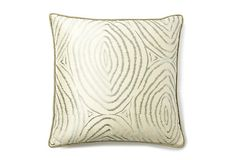"""For inspiration only - finger print 20x20 pillow in """"ice"""" - silk pillow with sense of movement and texture."""