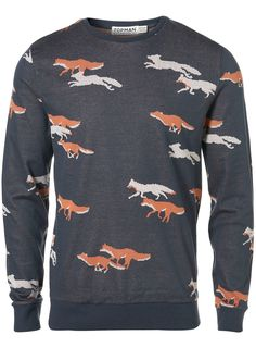 Blue Fox Print Sweatshirt