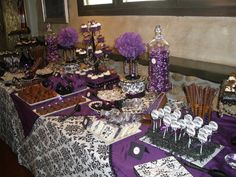 Beautiful in purple and black Halloween Bridal Showers, Halloween Wedding Cakes, After Prom, Prom Decor, Purple Wedding Cakes, Purple Halloween, Candy Table, Wedding Themes, Wedding Ideas