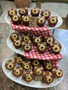 Yogi Bear First Birthday - These bear cupcakes turned out so cute and are perfect for a bear theme party, first birthday party, little bear party, or outdoor theme!