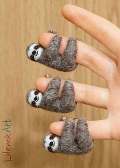 Needle felted sloths by LilenokArt. Veganize this, please! Always choose animal-free/eco-friendly art & craft materials. Don't use wool, silk, alpaca, fur, feathers, or anything else stolen from the bodies of exploited animals. Be a compassionate artist & stand for justice for our fellow earthlings. Watch The Wool Industry Exposed at https://youtu.be/siTvjWE2aVw & http://www.peacefulprairie.org/humane-myth01.html