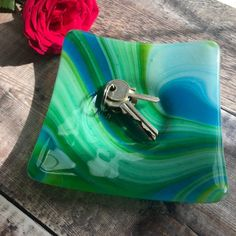 Excited to share this item from my shop: Fused glass dish, large green dish, unusual candle holder, jewellery tray Jewelry Tray, Jewelry Show, Jewellery, Dichroic Glass Jewelry, Fused Glass, Teal, Turquoise, Glass Dishes, Pet Gifts