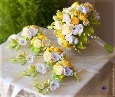 Купить Букет-дублер.Розы и фрезия - желтый, зеленый, букет невесты, букет дублер