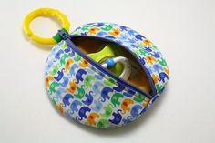 Paci Pod Cool Bright Boy Elephants Binky Pouch by sewingamity, $8.00