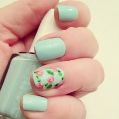 Mint + Floral nails love the combination. Fancy Nails, Cute Nails, Pretty Nails, Trendy Nail Art, Cool Nail Art, Hair And Nails, My Nails, Nails 2016, Cute Nail Designs