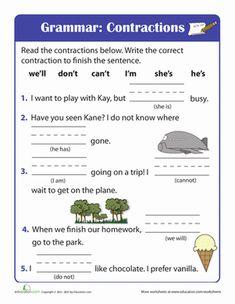 Worksheets First Grade Grammar Worksheets grade 2 children and extra work on pinterest first spelling grammar worksheets beginning contractions