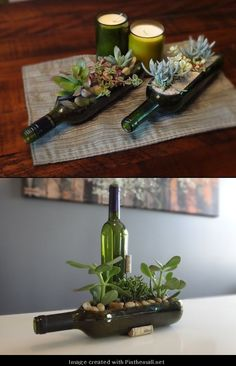 Transform your wine bottles into small gardens. Steal a few cuttings of succulents from my ma and I'm set!
