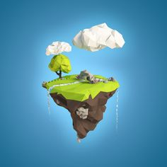 polygon island floating - http://vectorboom.com/load/tutorials/effects/polygonal_vector_mosaic/3-1-0-305