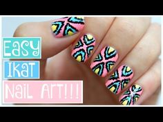 Easy Tribal Ikat Nail Art!!! | JennyClaireFox - YouTube