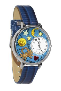 Cancer Royal Blue Leather And Silvertone Watch