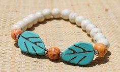 White Turquoise Magnesite, Turquoise Magnesite Leaves and Orange Magnesite Stretch Bangle Bracelet | AyaDesigns - Jewelry on ArtFire