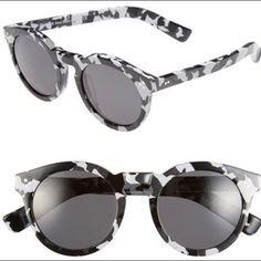 Illesteva Black And White Splattered Sunglasses