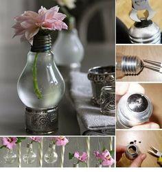 Light bulb vase and many more DIY vase ideas. Diy Décoration, Easy Diy, Simple Diy, Simple Crafts, Diy Luz, Recycled Light Bulbs, Recycled Decor, Repurposed, Light Bulb Vase