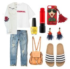 """Last day of school"" by afirarifdah on Polyvore featuring Hollister Co., adidas, Chloé, Bliss and Mischief, Lizzie Fortunato and OPI"