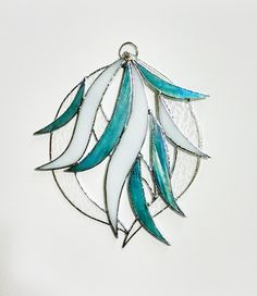 Blue Waves Stained Glass Suncatcher - Aqua White - Beach Coastal Decor - Bathroom Decor - Abstract  - Modern Art - Wall Hanging - Sculpture by StainedGlassYourWay on Etsy