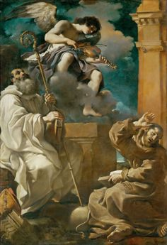 Guercino - Saint Francis in Ecstasy with Saint Benedict and an Angel Playing the Violin