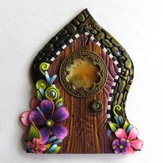 Fancy Window Fairy Door, Pixie Portal, Fairy Garden Decor, Miniature Polymer Clay Door
