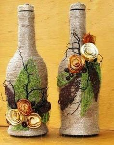 Diy Crafts - Using string to decorate glass bottles is really easy and very effective. You really need much to do this just string, Wine Bottle Design, Wine Bottle Art, Diy Bottle, Vodka Bottle, Glass Bottle Crafts, Glass Bottles, Jute Crafts, Diy Crafts, Wrapped Wine Bottles