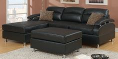 Small Black Leather Sectional Sleeper Sofa with Chaise
