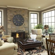 Traditional Home Rock Fireplace With Windows On Each Side Design, Pictures, Remodel, Decor and Ideas - page 10