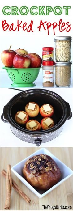 Crockpot Baked Apples Recipe!  Such an easy, delicious, flavor-packed Slow Cooker dessert!  The oatmeal, cinnamon, sugar and butter make these beyond irresistible! | TheFrugalGirls.com