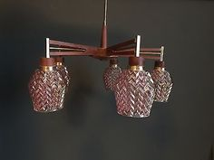 Retro Vintage Mid Century Teak Pink  Glass Ceiling Chandelier Light 1960s 70s