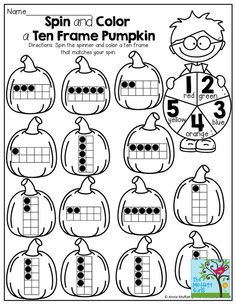 Spin the spinner and color a ten frame to match your spin! So many FUN and interactive printables for the entire month of October!