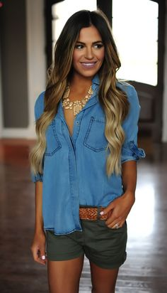 Denim Split Back Top - Dottie Couture Boutique