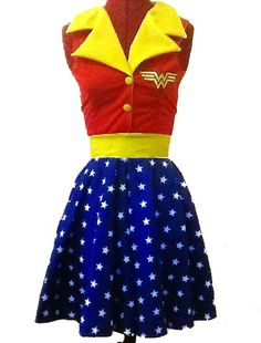 Wonder Woman, batman, marvel, DC, and comic hero inspired rockabilly dress made to measure