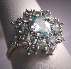 Vintage Aquamarine Ring Estate Gemstone Gold Wedding 8