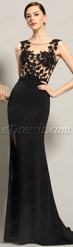 Sexy black lace evening gown! #edressit #dress #black #women #fashion